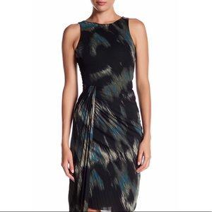 Halston :: Pleated Faux Wrap Cocktail Dress
